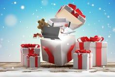 Os presentes de Natal abrem a surpresa 3d-illustrati do presente de Natal ilustração royalty free