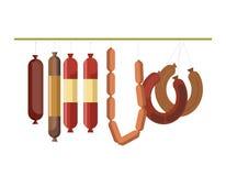 Os produtos da gastronomia da exposição ou do açougue do contador de carne das salsichas armazenam o vetor Imagem de Stock