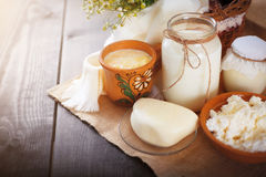Os produtos láteos sortidos ordenham, iogurte, requeijão, creme de leite Ainda vida rústica Imagem de Stock