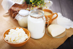 Os produtos láteos sortidos ordenham, iogurte, requeijão, creme de leite Ainda vida rústica Imagem de Stock Royalty Free
