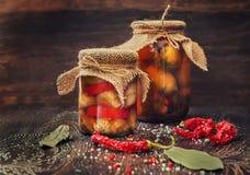 Os produtos principais roasted a beringela nos frascos de vidro em uma bacia de vidro com salsa e alimento caseiro dos tomates foto de stock royalty free