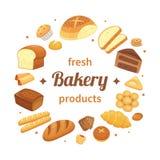 Os produtos redondos da padaria etiquetam Pão cozido fresco, rolos do café da manhã do pão de centeio integral e naco de coziment ilustração royalty free