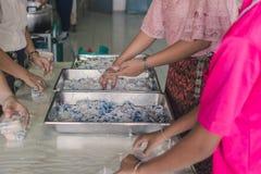 Os professores e os estudantes estão ajudando a embalar o munchk tailandês do coco fotografia de stock