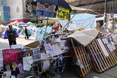 Os protestadores da democracia de Hong Kong estão lutando fora seu executivo principal Imagem de Stock Royalty Free