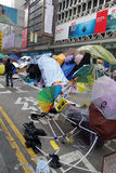 Os protestadores da democracia de Hong Kong estão lutando fora seu executivo principal Imagens de Stock Royalty Free