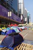 Os protestadores da democracia de Hong Kong estão lutando fora seu executivo principal Fotografia de Stock Royalty Free