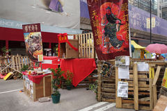 Os protestadores da democracia de Hong Kong estão lutando fora seu executivo principal Fotos de Stock Royalty Free