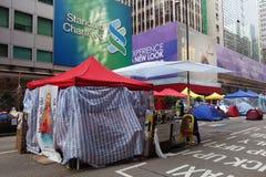 Os protestadores da democracia de Hong Kong estão lutando fora seu executivo principal Foto de Stock Royalty Free