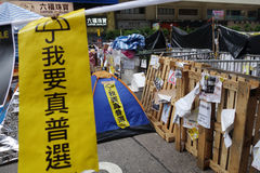 Os protestadores da democracia de Hong Kong estão lutando fora seu executivo principal Foto de Stock