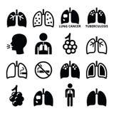 Os pulmões, ícones da doença pulmonar ajustaram - a tuberculose, câncer Imagem de Stock