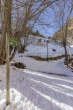 Os pyrenes do inverno ajardinam perto da vila de Canillo, trekking e dando um ciclo a fuga Imagens de Stock