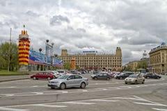 Os quadrados centrais da cidade são usados como um estacionamento Fotos de Stock Royalty Free