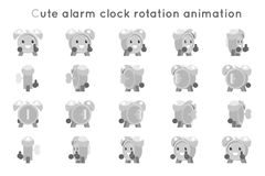 Os quadros bonitos dos símbolos da animação da rotação dos ícones do caráter da criança do relógio da criança do despertador ajus ilustração royalty free