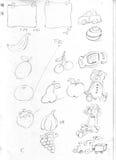 Os quadros do fruto do post-it, a bola da peluche e os trinkets esboçam o desenho de lápis, esboço Fotografia de Stock Royalty Free