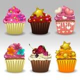 Os queques ajustaram 3 Imagem de Stock Royalty Free