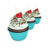 os queques 3d doces com polvilham no branco Imagem de Stock Royalty Free