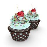 os queques 3d doces com polvilham no branco Fotos de Stock