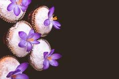 Os queques decorados com açafrão florescem no fundo preto de veludo Fotos de Stock Royalty Free