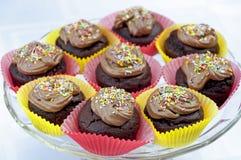 Os queques do chocolate com colorido polvilham Fotos de Stock Royalty Free