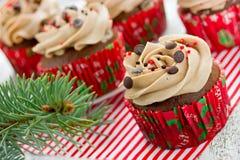 Os queques do Natal com polvilham a decoração Fotos de Stock