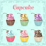 Os queques doces tirados mão da cor ajustaram-se no fundo azul Imagem de Stock