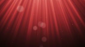 Os raios claros do volume festivo com bokeh das partículas do brilho deram laços no fundo animado do vermelho do movimento do cg  ilustração royalty free
