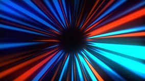 Os raios misteriosos abstratos escavam um túnel, movendo-se no espaço e o tempo, distorção do espaço, 3d rende ilustração stock