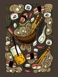 Os Ramen e o sushi rabiscam a ilustração colorida tirada mão do estilo Alimento japonês Culinária asiática ilustração royalty free