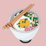 Os Ramen rolam com os bolos do ovo e de peixes com esboços ilustração royalty free