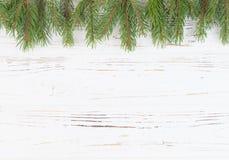 Os ramos eram abeto contra um fundo branco da árvore Fundo do `s do ano novo Introduza o texto Imagem de Stock