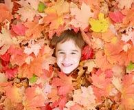 Os rapazes pequenos enfrentam nas folhas Fotos de Stock Royalty Free