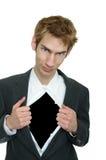 Os rasgos do homem de negócios abrem o terno Imagens de Stock