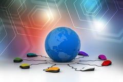 Os ratos do computador são conectados em torno do globo Imagens de Stock