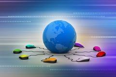 Os ratos do computador são conectados em torno do globo Foto de Stock