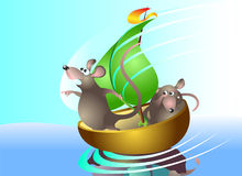 Os ratos navegam no barco Foto de Stock