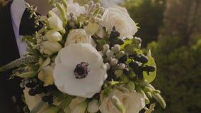 Os recém-casados abraçam e beijam no tempo ensolarado perfeito vídeos de arquivo