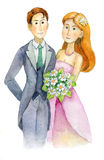 Os recém-casados, casamento, noivos, contrataram pares, convite do banquete de casamento, cartão, aquarela, aquarelle imagem de stock