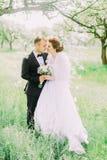 Os recém-casados estão estando caras a cara na parte dianteira das cisnes de papel que penduram na árvore durante a mola Foto de Stock