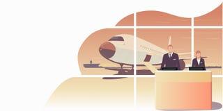 Os recepcionistas estão esperando os passageiros da linha aérea ilustração stock