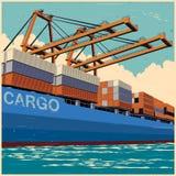 Os recipientes da carga pelo porto cranes no estilo retro do cartaz Imagens de Stock Royalty Free