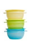 Os recipientes de alimento plásticos gostam do tupperware Imagens de Stock