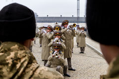 Os recrutas das forças armadas de Ucrânia, que participaram imagens de stock