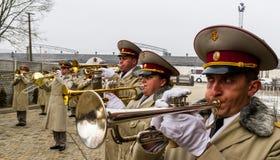 Os recrutas das forças armadas de Ucrânia, que participaram fotografia de stock
