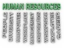 os recursos humanos da imagem 3d emitem o fundo da nuvem da palavra do conceito Fotos de Stock Royalty Free