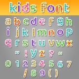 Os retalhos bonitos das crianças modelam o alfabeto Imagens de Stock