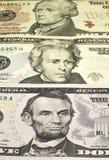 Os retratos de U S Presidentes representados em notas de 5,10,20 Imagens de Stock