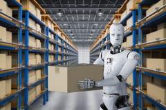 Os robôs levam caixas Foto de Stock
