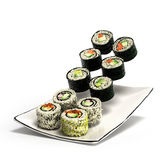 Os rolos de sushi serviram em uma placa 3d rendem ilustração royalty free