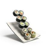 Os rolos de sushi serviram em uma placa 3d rendem ilustração stock