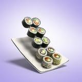 Os rolos de sushi serviram em uma placa 3d rendem no inclinação ilustração stock